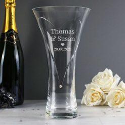 Personalised Mr & Mrs Large Hand Cut Diamante Heart Vase with Swarovski Elements