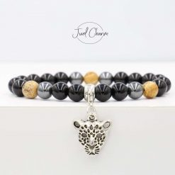 Handmade Onyx, Hematite and Picture Jasper gemstone bracelet shown with a leopard charm