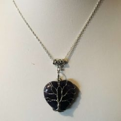 Amethyst heart pendant, valentine