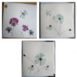 Sea glass or pressed flower cards