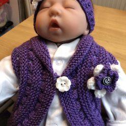 Hand knitted baby bolero waistcost with matching headband 0-6 months