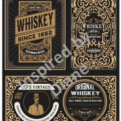 Art Stickers, Sticker for Wall, Furniture and DIY Projects - Decal- Transfer- Vintage - Shabby Chic - French - Retro - Whiskey Labels Tags /359