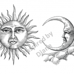Art Stickers, Sticker for Wall, Furniture and DIY Projects - Decal- Transfer- Vintage - Shabby Chic - French - Retro - Sun Moon /367
