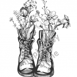 Clear Art Stickers, Sticker for Wall, Furniture and DIY Projects - Decal- Transfer- Vintage - Shabby Chic - French - Retro - Wellies Boots Flowers /381