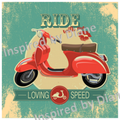 Clear Art Stickers, Sticker for Wall, Furniture and DIY Projects - Decal- Transfer- Vintage - Shabby Chic - French - Retro -Moped Motorbike Bike /389