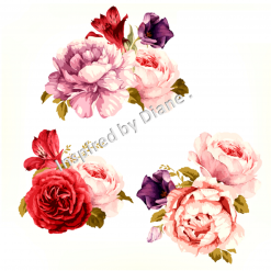 Clear Art Stickers, Sticker for Wall, Furniture and DIY Projects - Decal- Transfer- Vintage - Shabby Chic - French - Retro - Labels Flowers Floral /390