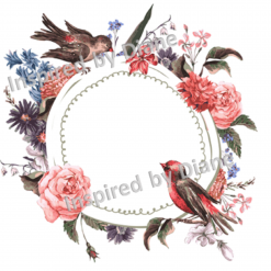 Clear Art Stickers, Sticker for Wall, Furniture and DIY Projects - Decal- Transfer- Vintage - Shabby Chic - French - Retro -Flowers Flower Bird /391