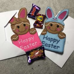NEW - Easter Bunny Gingerbread Fabric Easter Card - BLUE