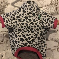 Custom-made leopard print sweater with fleece lining and pink cuffs and waistband