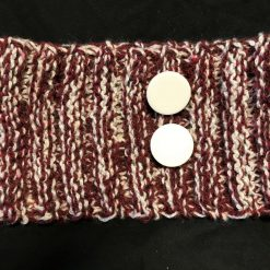 Knitted Head Warmer - Maroon/White