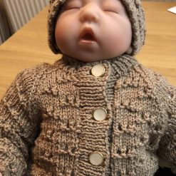 Hand knitted baby cardigan, beanie hat and booties - Newborn