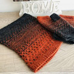Knitted fingerless mittens and snood