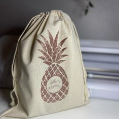 Personalised drawstring linen bag
