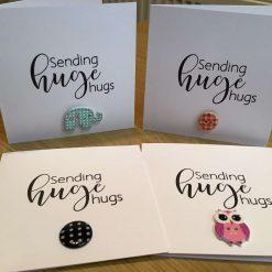 """Selection of handmade greeting cards """"sending huge hugs"""" 4 per pack"""