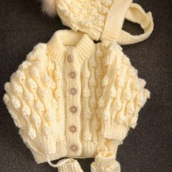 Hand knitted baby set cardigan, bobble hat and mittens 0-6 months - lemon