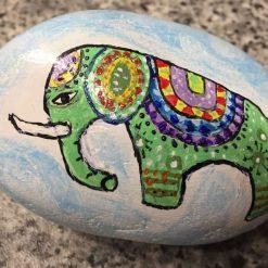 Mandala painted elephant pebble
