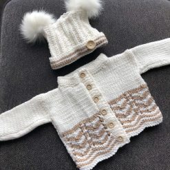 Hand knitted baby cardigan - white or pink available
