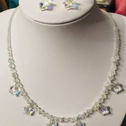 Crystal necklace and earrings with sparkling stars