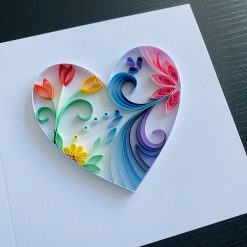 Personalised Quilled Rainbow Heart Card – wedding, anniversary, Valentine's day