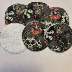 Eco-friendly, reusable makeup remover pads, skull print