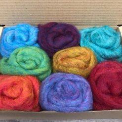 Carded Corriedale Needle felting wool - 8 colour box (Cocktail Melange)