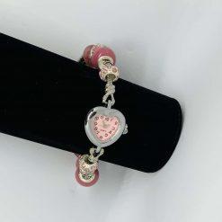 European Style Beaded Charm BRACELET WATCH Pink Heart