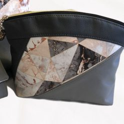 Marble Geo Makeup Bag, toiletry bag, gift , birthday, faux leather canvas