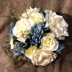 Blue and white bridal bouquet and matching groom's buttonhole