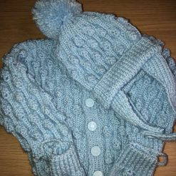 Hand knitted baby set cardigan, bobble hat and mittens 0-6 months - baby blue