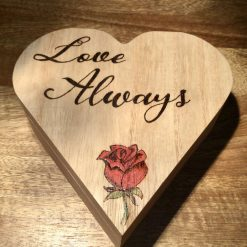 Hand Burnt and Painted Heart Shaped wooden Box