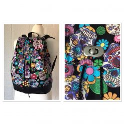 Bees Rucksack Backpack with Black Faux Leather with Cotton Bee Fabric and a Secret Zip Pocket