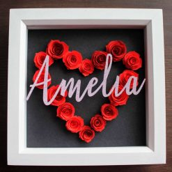 Personalised Red Rose Heart in White Box Frame