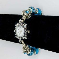 European Style Beaded Charm BRACELET WATCH Blue