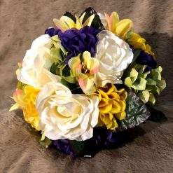 Spring/summer bridal bouquet and matching groom's buttonhole