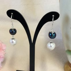 Silver Pearl Earrings Peacock Blue and White