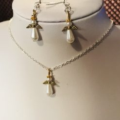 Angel pendant and earrings