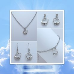 -Individually Priced- Angel Wing Love Heart Necklace, Earrings, Bracelet, Jewellery Set | Tibetan Silver Charm Birthday Christmas Mothers Mother's Day Valentine Anniversary Easter Memorial Gift Set Ideas | Charming Gifts