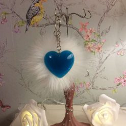Blue heart key chain