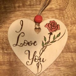 Pyrography Hand Burnt and  Painted  Valentines Wooden hanging Hearts