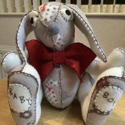 Handmade decorative fleece animal - Bertie Bunny, New Baby Boy Gift