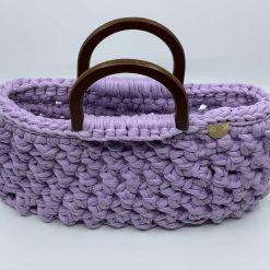 Crochet Handbag, Ladies Handbag, Top Handle Bag, Upcycled, Reduce, Gift for Her, T Shirt Yarn, Handmade to Order