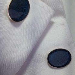 Resin artwork design Silver Plated Cufflinks in Midnight Blue