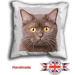 Brown Shorthair Cat Cushion Cover, Brown Shorthair Cat Cushion, Brown Shorthair Cat Pillow, 6 Sizes, Handmade