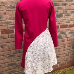 Ladies dress size 12-14 Raspberry red with floral panel 1