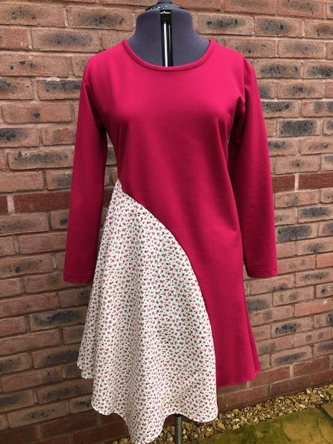 Ladies dress size 12-14 Raspberry red with floral panel