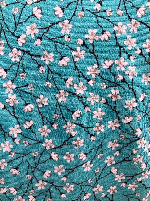 Ladies teal tunic top with blossom print Size 12-14