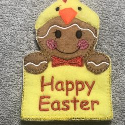 NEW - Easter Chick Gingerbread Fabric Easter Card