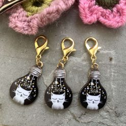 Lightbulb Cat crochet  stitch markers