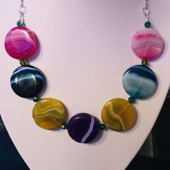 Agate multi coloured necklace