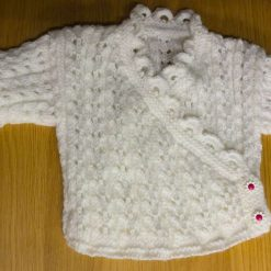 Hand knitted baby wrap cardigan 0-6 months